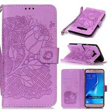 PU Leather Flip Stand Card Slot Wallet Case Cover Strap For Cellphones Purple