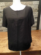 Akris Punto Blouse Fringed Top 100% Silk Black Women's Size 14 NWT $595