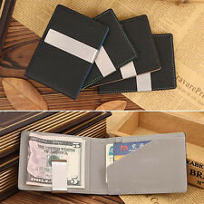 Stylish Leather Silver Money Clip Stainless Steel Money Clip Holder Slim Wallets