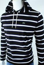 LACOSTE Croc Logo Mens Cotton Hooded Striped Long Sleeve Top NWT