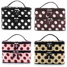 Polka Dot Makeup Case Double Layers Zipper Cosmetic Hand Bag Toiletry Exquisite