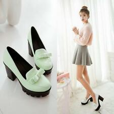 Womens High Heel Platform Bowknot Pumps Shoes Loafer Block Mary Jane Shoes Plus