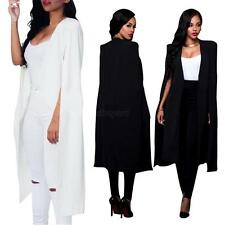 Womens Casual Cape Cardigan Long Cloak Jacket Trench Coat Ladies Blazer Outwear