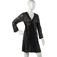 Womens Black Lacy Wrap Slenderella Gaspe Short Lace Dressing Gown with Tie Belt