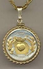 Handcrafted in USA Gold on Silver Statehood Quarter Necklace in Rope Bezel