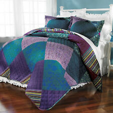 3 PC FULL/QUEEN Jewel Patch QUILT & 2 SHAMS Comforter MACHINE WASH/DRY Reg$115