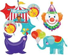 FIRST 1ST BIRTHDAY CIRCUS BALLOONS BOUQUET DECORATIONS CLOWN SEAL ELEPHANT TENT