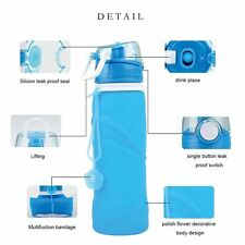 Sports 750ML Foldable Silicone Drink Water Bottle Traveling Hiking Running Flask