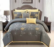 Luxurious 8 PCS Embroidery Bed In A Bag Queen Size Yellow/Gray Comforter Set New