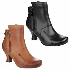 Hush Puppies LYDIE Ladies Womens Leather Zip Mid Flare Heel Fashion Ankle Boots