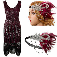 Vintage 1920s Flapper Costume Gatsby 20s Sequined Tassel Cocktail Womens Dresses