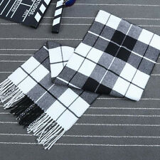 Mens Classic Faux Cashmere Shawl Winter Warm Long Fringe Check Tassel Scarf New