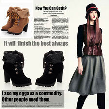 Womens High Heel Lace Up Army Combat Flat Ankle Boots Ladies Platform Shoes Gift