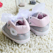 Toddler Baby Girl Gray Crib Shoes Soft Sole casual Size 0-6 6-12 12-18Months