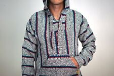 Mexican Baja Hoodie Drug Rug Jacket Pullover Hippie Surfer Poncho White Diamond