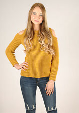New Womens Rib Cold Shoulder Long Sleeve Knit Cosy Jumper