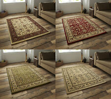 Heritage Traditional Repetitive Pattern Rug Wool Look Pile Home Decor Mat