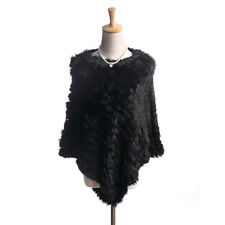 Ladies Black Shawls Triangle Women's Knitted Real Rabbit Fur Shawl Capes Xmas