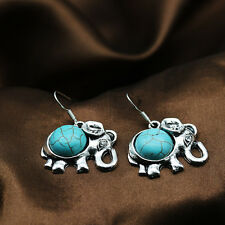 Vintage Turquoise Elephant Pendant Chain Necklace Earrings Silver Jewelry Set