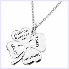 925 Sterling Silver Friends Forever Today Tomorrow Dangle Pendant Chain Necklace