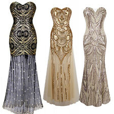 Women Mermaid Strapless Sequins Long Dress Formal Prom Evening Party Ball Gown