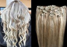 "18"",20"",22"",24"" 100% Remy Human Highlighted Hair Extensions 7Pcs Clip in #18/613"