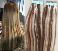 "18"",20"" 100grs,40pcs, 100% HIGHLIGHTED Human Tape In Hair Extensions #4/613"