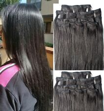 """18"""",20"""",22"""",24"""",26"""" 100% REMY Human Hair Extensions 7Pcs Clip in #1B Off Black"""