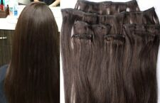 """18"""",20"""",22"""",24"""",26"""" 100% REMY Human Hair Extensions 7Pc Clip in #2 Darkest Brown"""