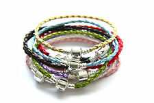 Silver Clasp Braided Leather Beads Charms Bracelet (Fit European beads)