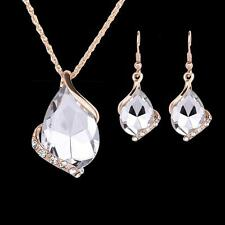 Gemstone Crystal Gold Chain Necklace Earring Plated Jewelry Set F Wedding Bridal