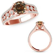 1.50 Ct Champagne Color Diamond Beautiful Solitaire Halo Ring Band 14K Rose Gold