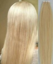 "18"",20"" 100gr,40pc,Human Tape In Hair Extensions #613 Platinum Blonde w/golden"