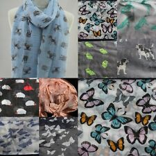 NEW SPRING 2017 Dogs Butterfly Print Neck Scarf Bird Shawl Womens Neck Wrap Gift