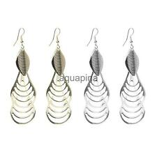 Women Metal Carved Vintage Ethnic Shield Earrings Dangle Drop Earrings Jewelry
