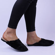 Womens Ladies Faux Fur Flat Backless Loafer Sliders Slip On Slippers Shoes Size