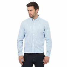 J By Jasper Conran Big And Tall White And Blue Checked Print Regular Fit Shirt