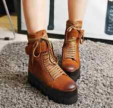 Womens Lace Up Platform Flat Ankle Boots Punk Goth Creepers Zip Retro Boot Shoes