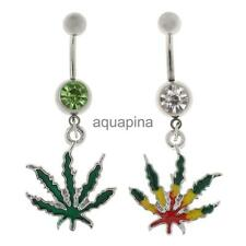 Stainless Steel Body Jewelry Crystal Navel Button Bar Leaf Dangle Belly Ring