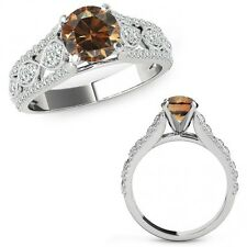 1.25 Ct Champagne Color Diamond Lovely Solitaire Halo Ring Band 14K White Gold