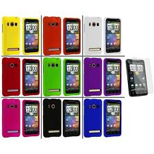 Color Hard Snap-On Rubberized Case Cover+Screen Protector for HTC Sprint EVO 4G