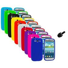Silicone Rubber Color Case Cover+Mini Stylus for Samsung Galaxy S III S3 i9300