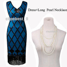 1920s 20s Gatsby Vintage Flapper Sequin Beads Party Maxi Dress Plus Size UK 8-20