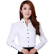 Elegant Women Career White Shirts Long Sleeve Button Office Lady Casual Blouses