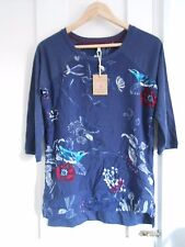 JOULES LADIES POLLY  WOVEN NAVY BIRD & BERRY MIX JERSEY TOP SIZE UK8 14 16 18