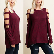 Women Off Shoulder Long Sleeve Casual Top Blouses Tee T-Shirt Jumper Pullovers