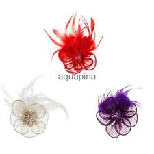 Elegant Flower Hair Accs Party Fascinator Clip Bridal Feather Headwear Jewelry