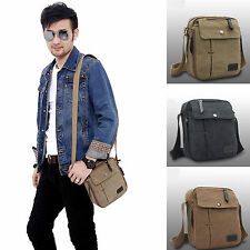 Mens Vintage Canvas Leather Satchel School Military Shoulder Bag Messenger Bags
