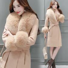 New Warm #Womens Winter Long Wool Overcoat Fur Collar Slim Fit Belt Brench Coats