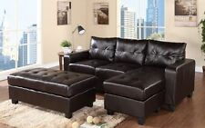 Reversable Bonded leather sectional with ottoman